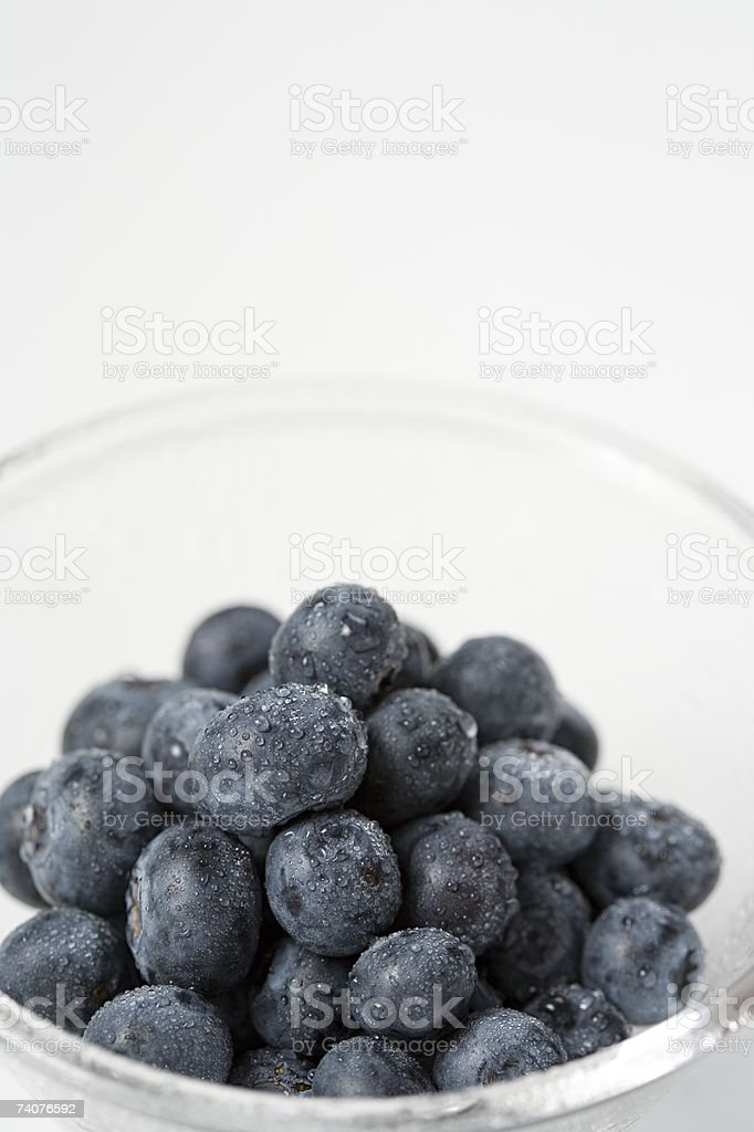 Blueberries in a bowl stock photo