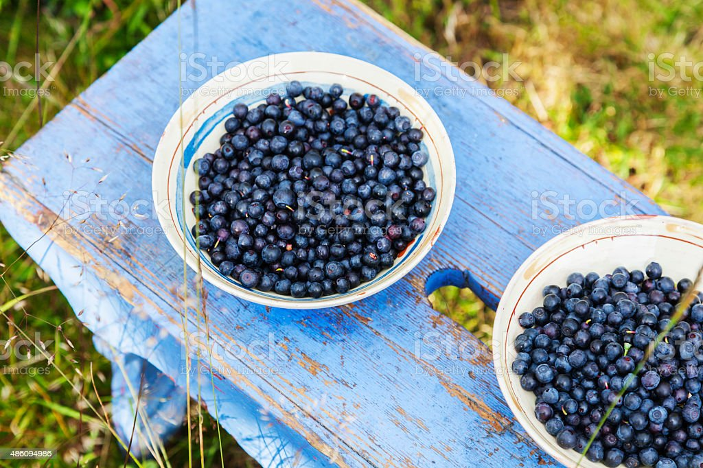 Blueberries in ceramic bowl on a blue footstool outside. stock photo