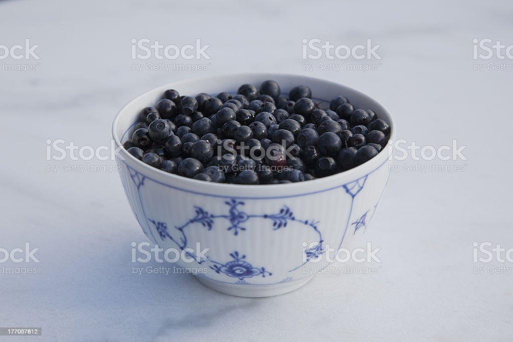 Blueberries in china bowl. stock photo