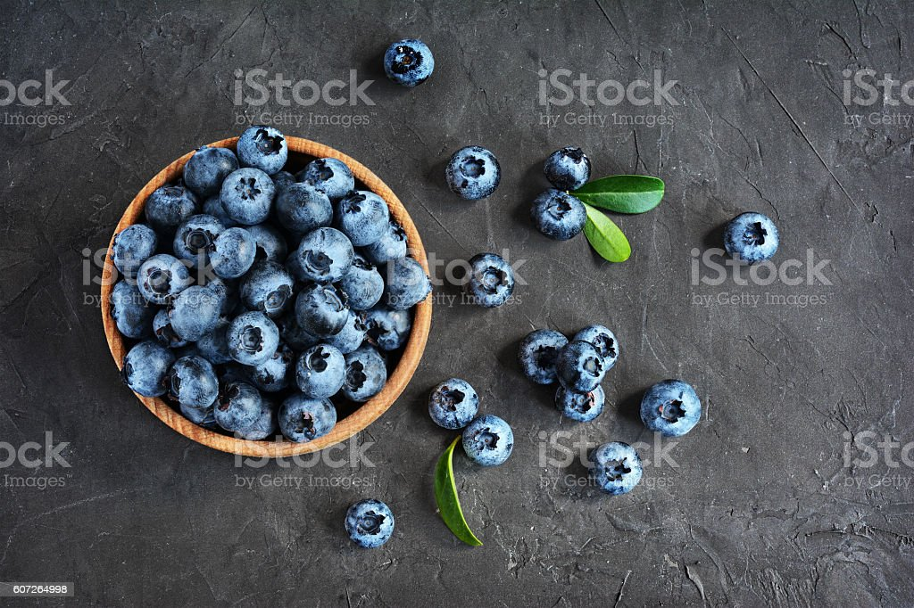 Blueberries in the bowl stock photo