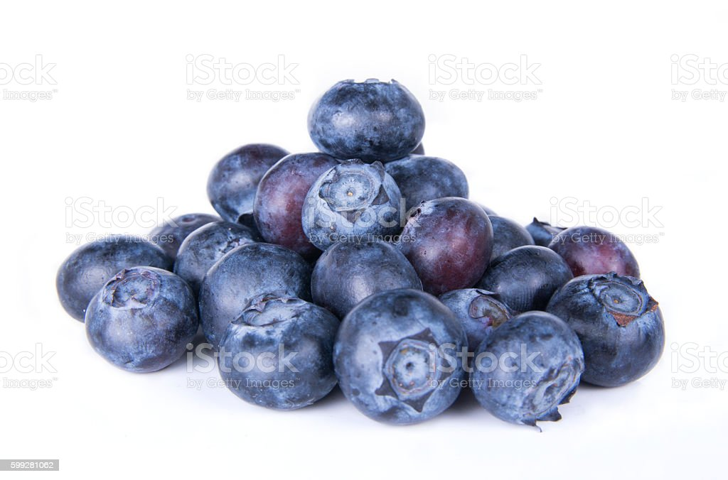 Blueberries isolated on a white background. stock photo
