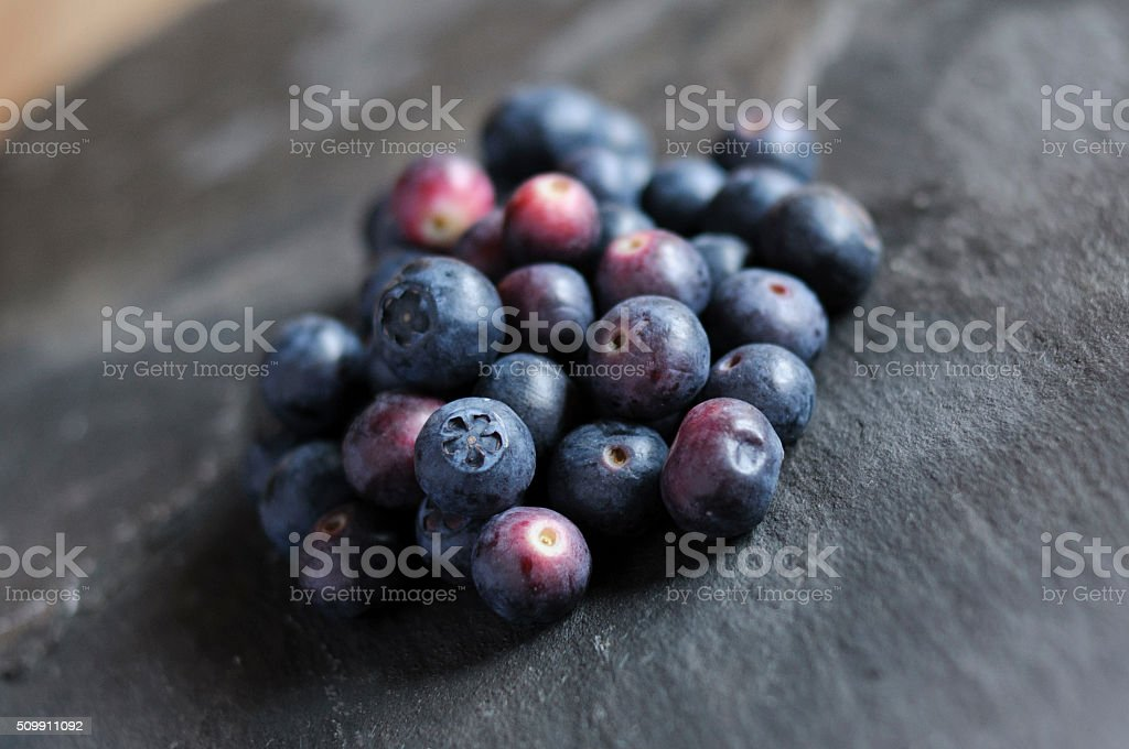 Blueberries on a slate stock photo
