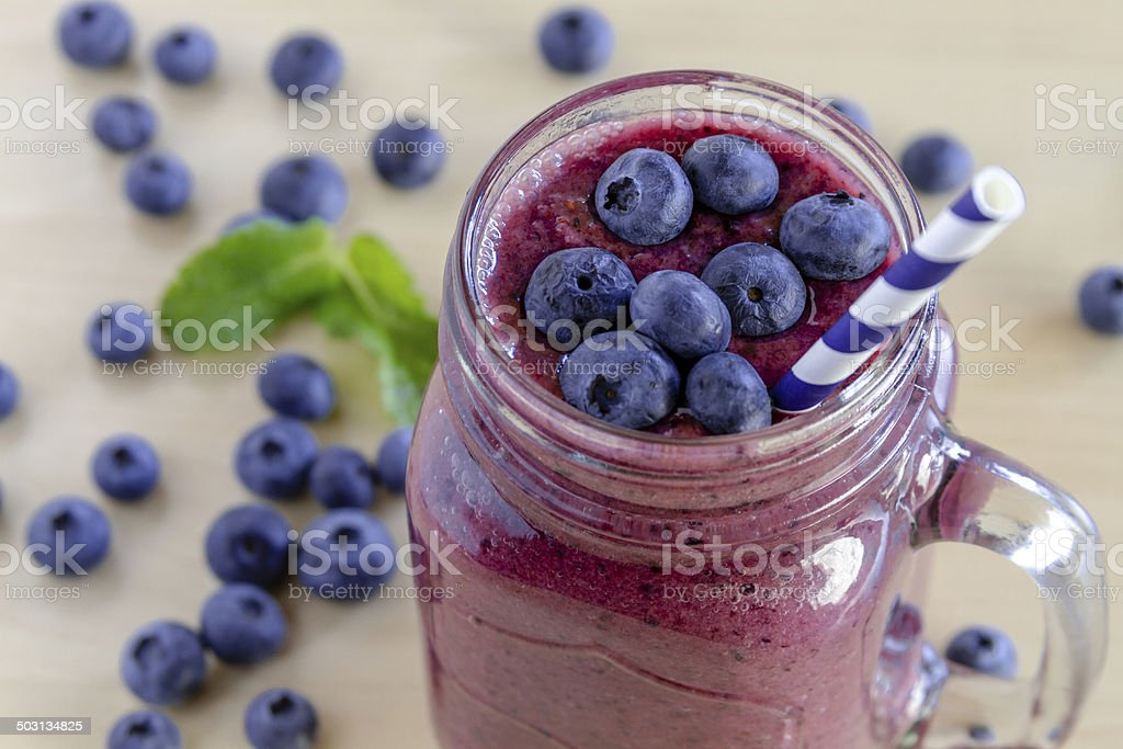 Blueberry and Blackberry smoothie shakes stock photo