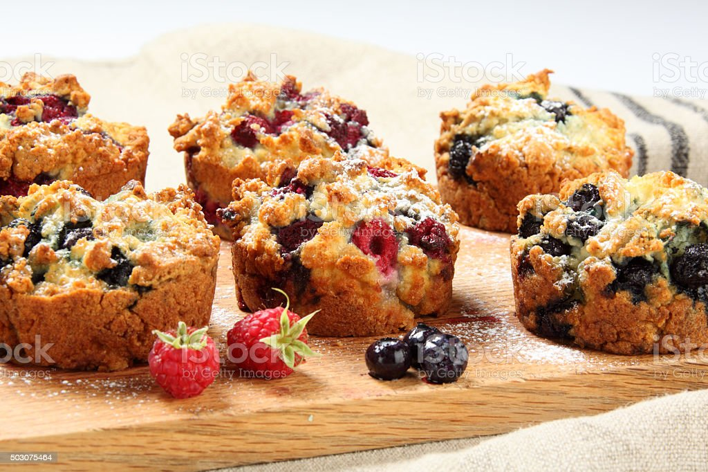 Blueberry and Raspberry Muffins stock photo