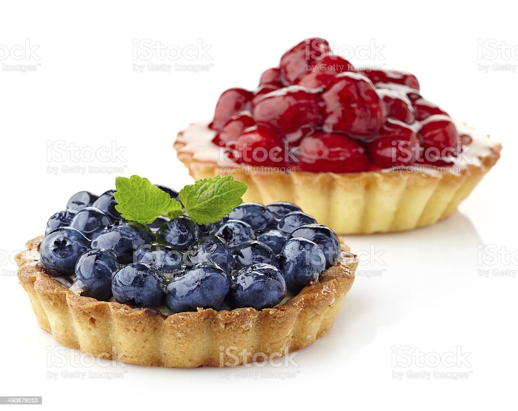 Blueberry and raspberry tarts stock photo