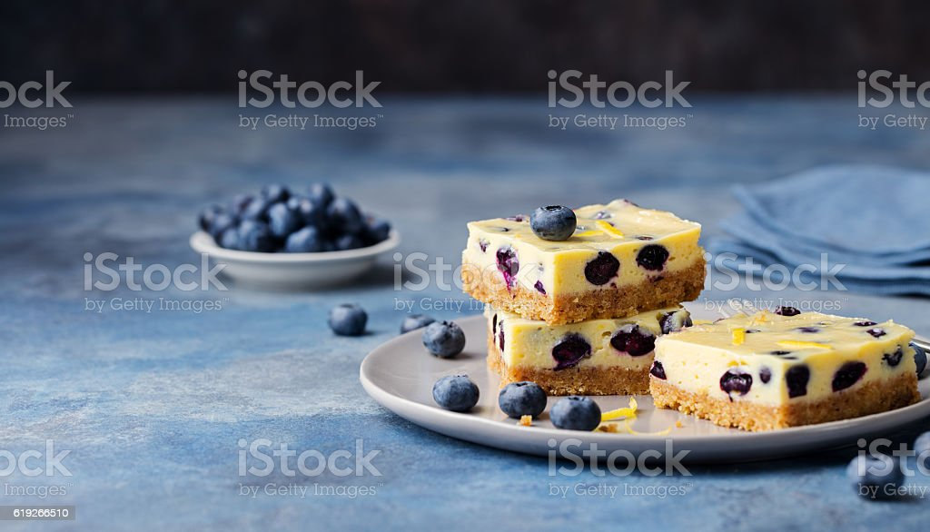 Blueberry bars, cake, cheesecake on a grey plate stock photo