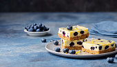 Blueberry bars, cake, cheesecake on a grey plate