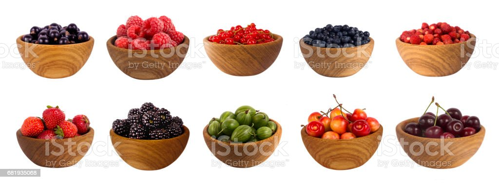 blueberry, blackberry, cherry, strawberry, currant, raspberry isolated on white background stock photo