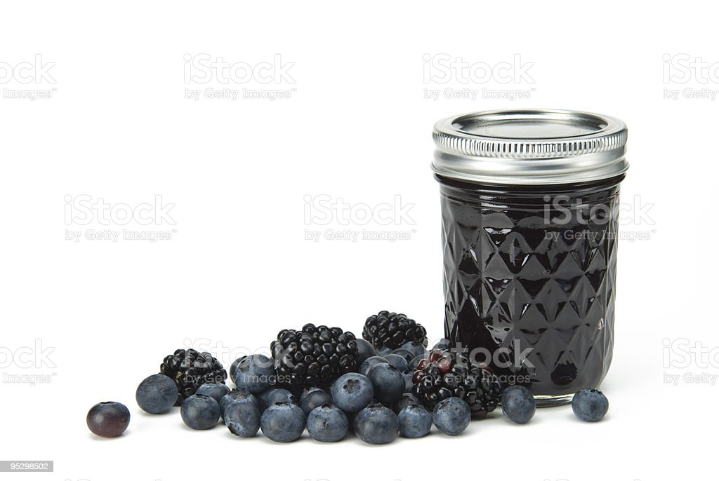 blueberry blackberry jam with fresh fruit royalty-free stock photo