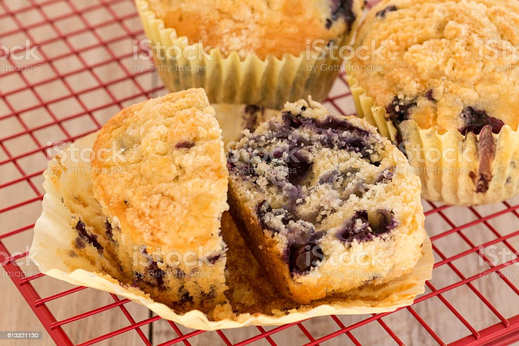 Blueberry Breakfast Muffins On Red Rack stock photo