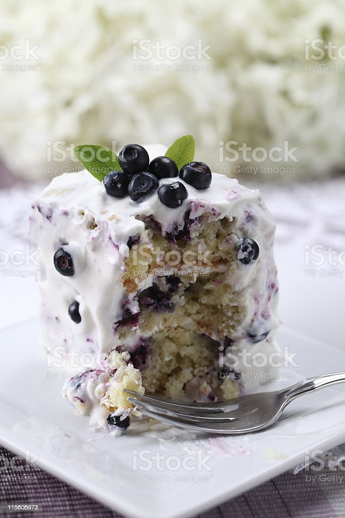 Blueberry cake with sour cream royalty-free stock photo