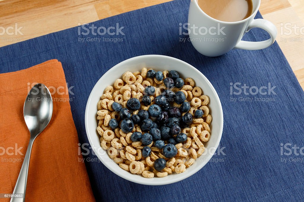 Blueberry Cereal & Coffee Breakfast stock photo