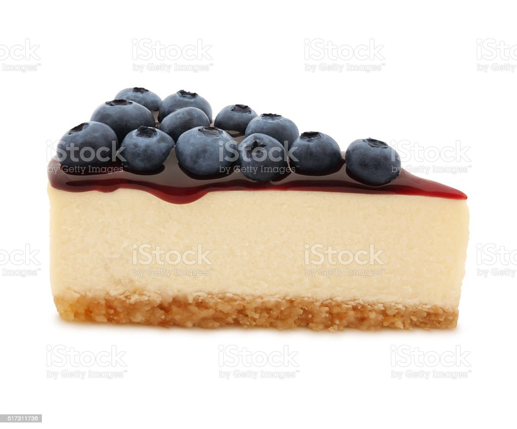 Blueberry Cheesecake Slice (with path) stock photo