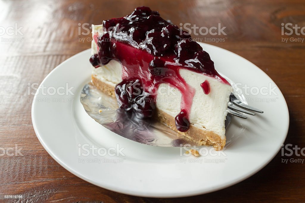 Blueberry chesscake. Cake with cream cheese and blueberry. stock photo