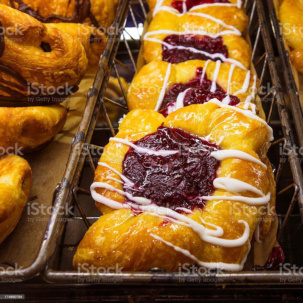 blueberry cream danish stock photo