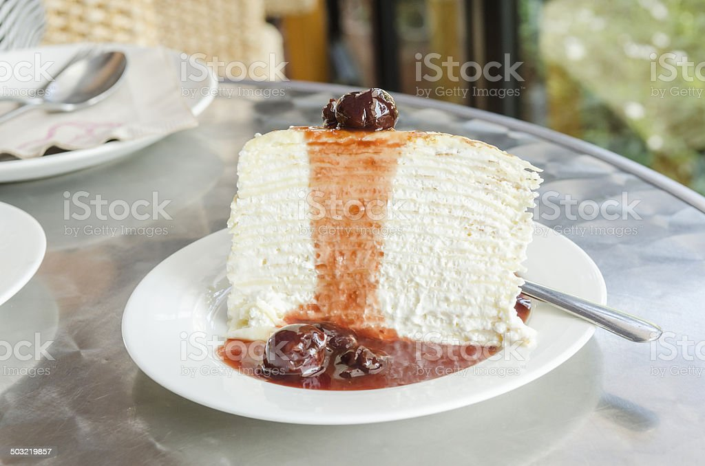 Blueberry Crepe cake royalty-free stock photo