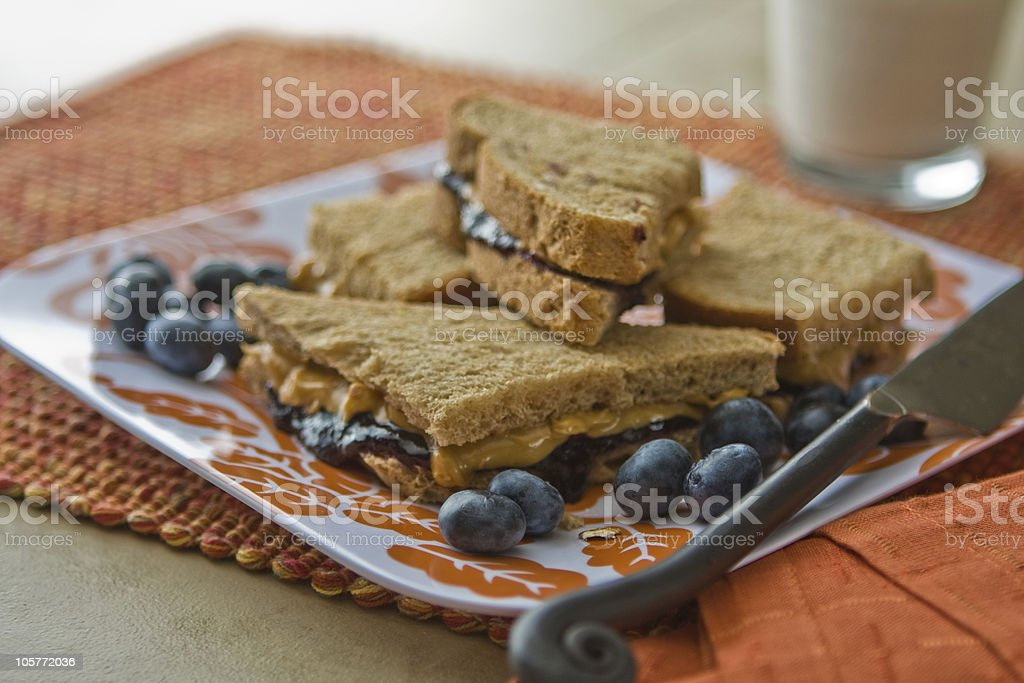 Blueberry Jam and Peanut Butter Sandwich royalty-free stock photo