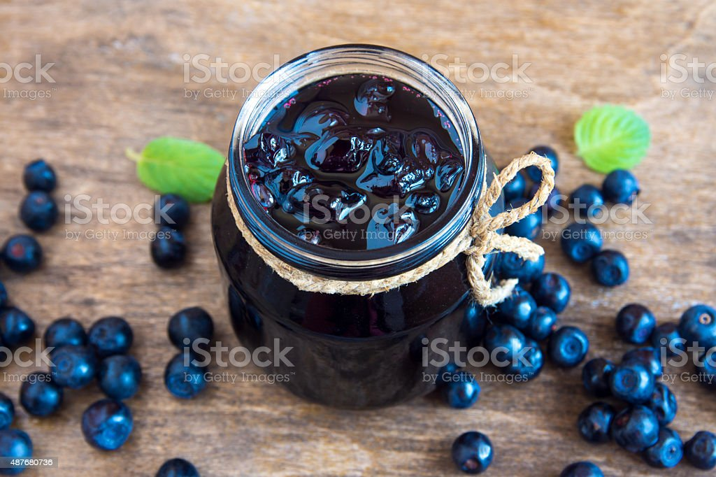 Blueberry jam stock photo