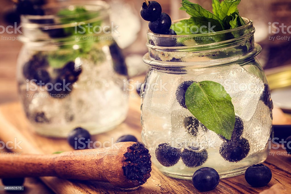 Blueberry Mojito as Fresh Summer Drink stock photo