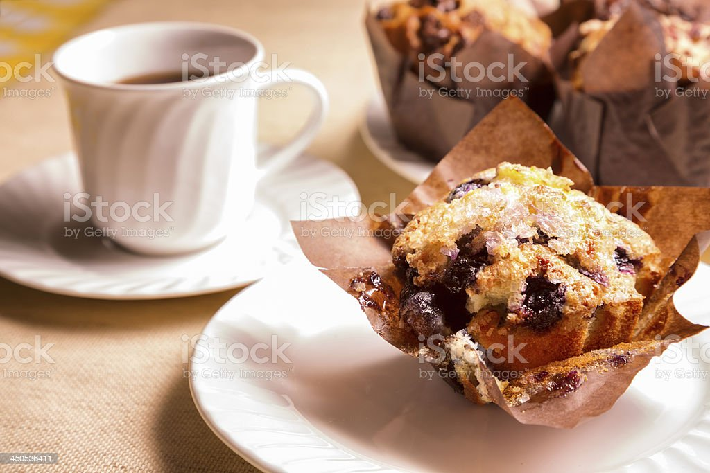 Blueberry Muffin and Coffee royalty-free stock photo