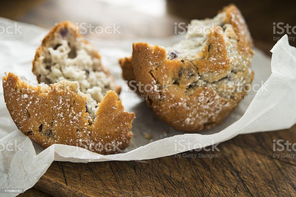 Blueberry muffin Broken apart royalty-free stock photo
