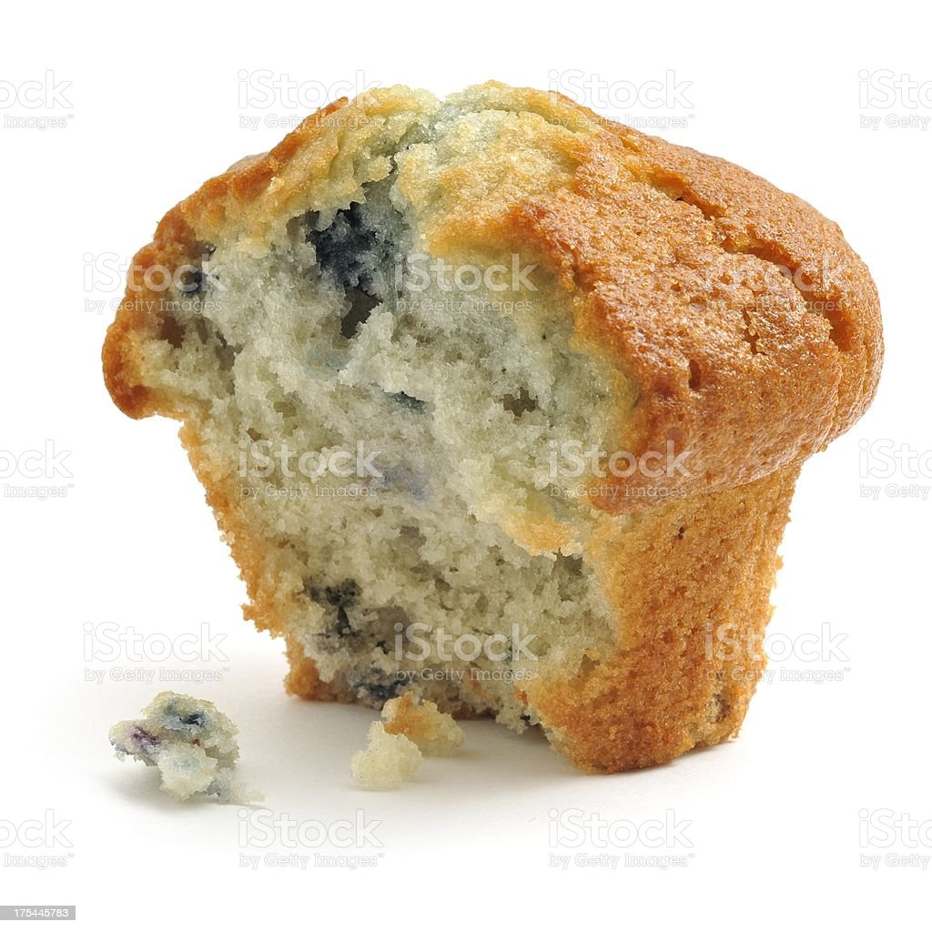 Blueberry Muffin, half eaten stock photo