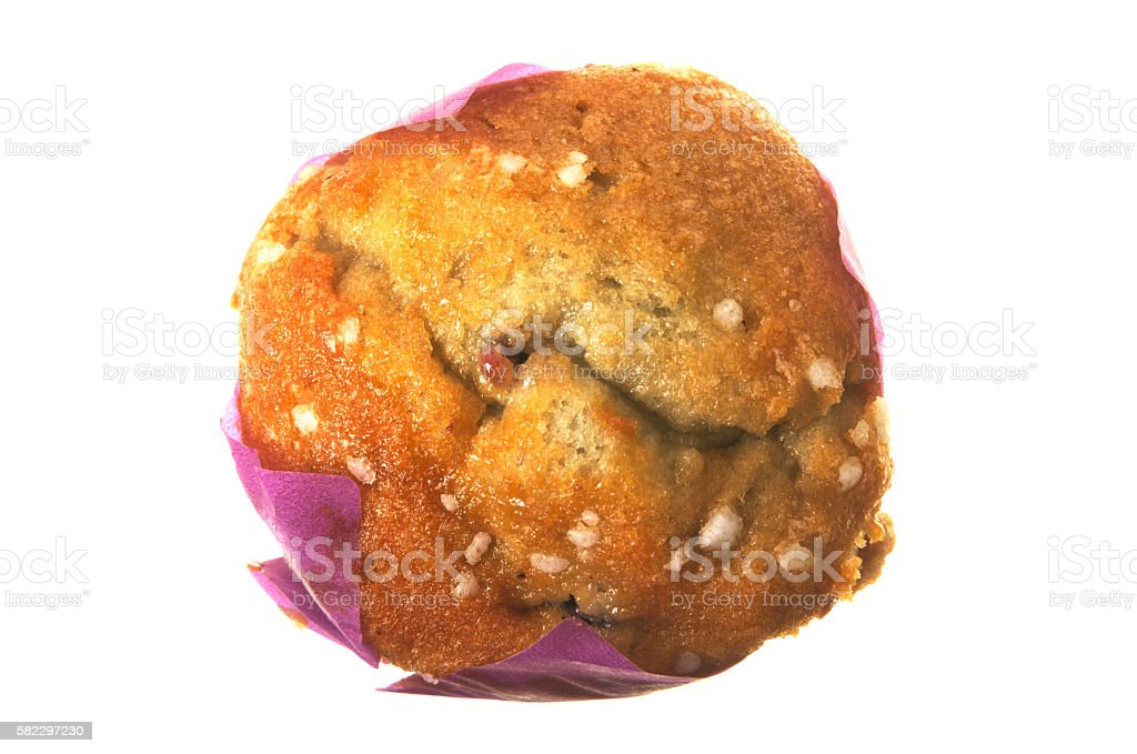 Blueberry muffin isolated on white stock photo