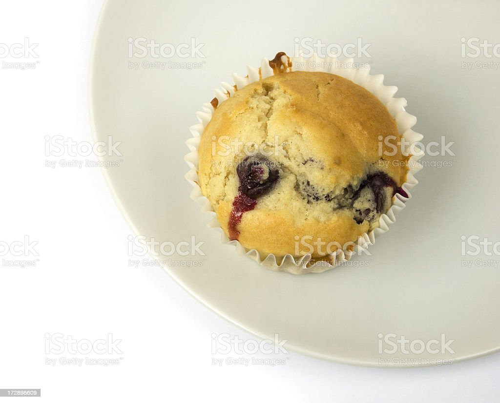 Blueberry muffin on plate royalty-free stock photo