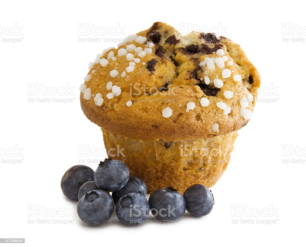 Blueberry muffin with berries royalty-free stock photo