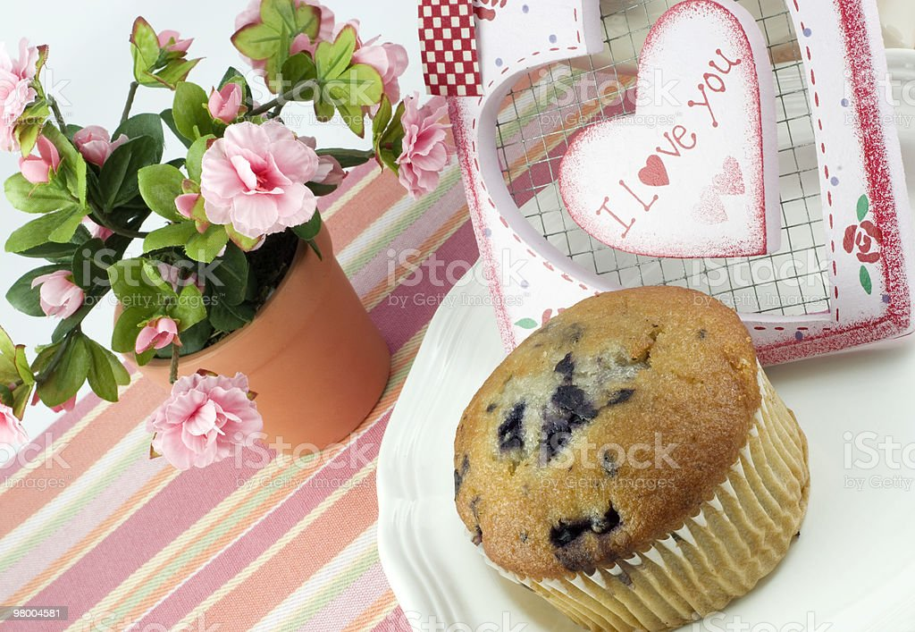 Blueberry Muffin with I Love You Heart royalty-free stock photo