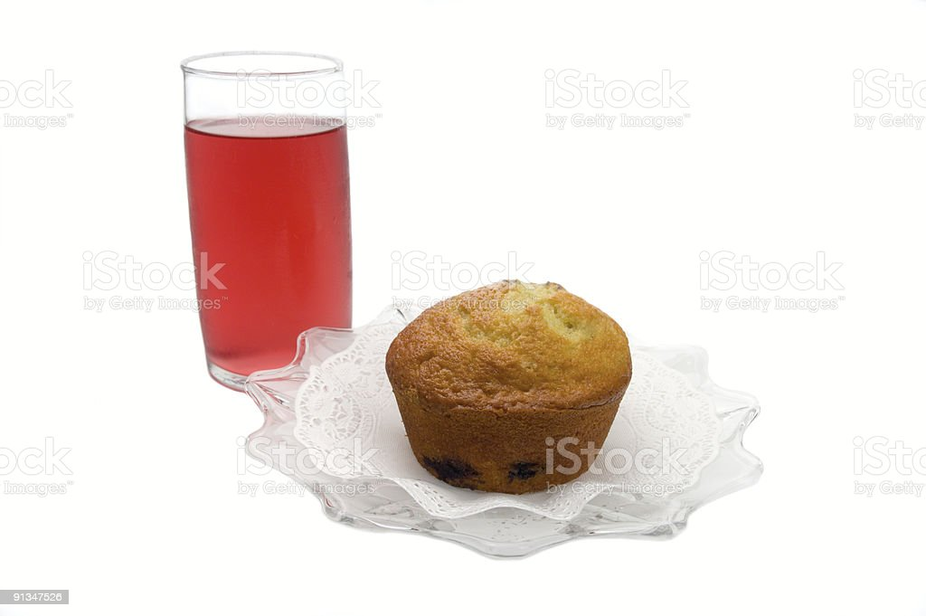 blueberry muffin with red juice royalty-free stock photo