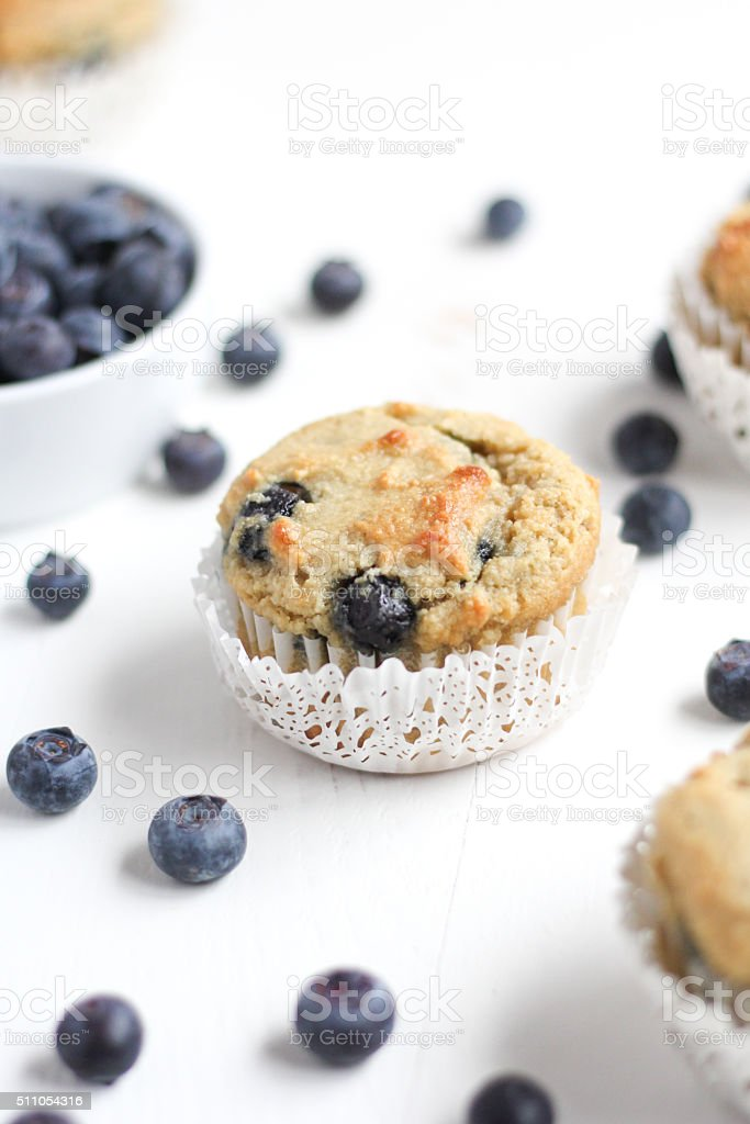 Blueberry Muffins with Fresh Blueberries stock photo