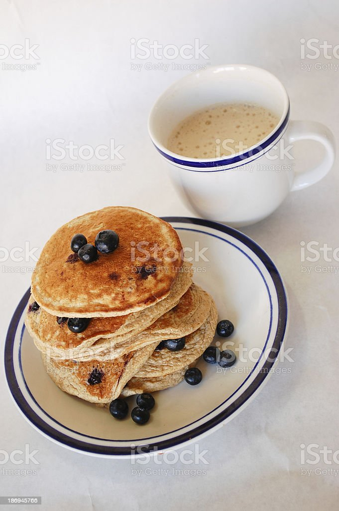 Blueberry Oat Pancake and Coffee From Above royalty-free stock photo