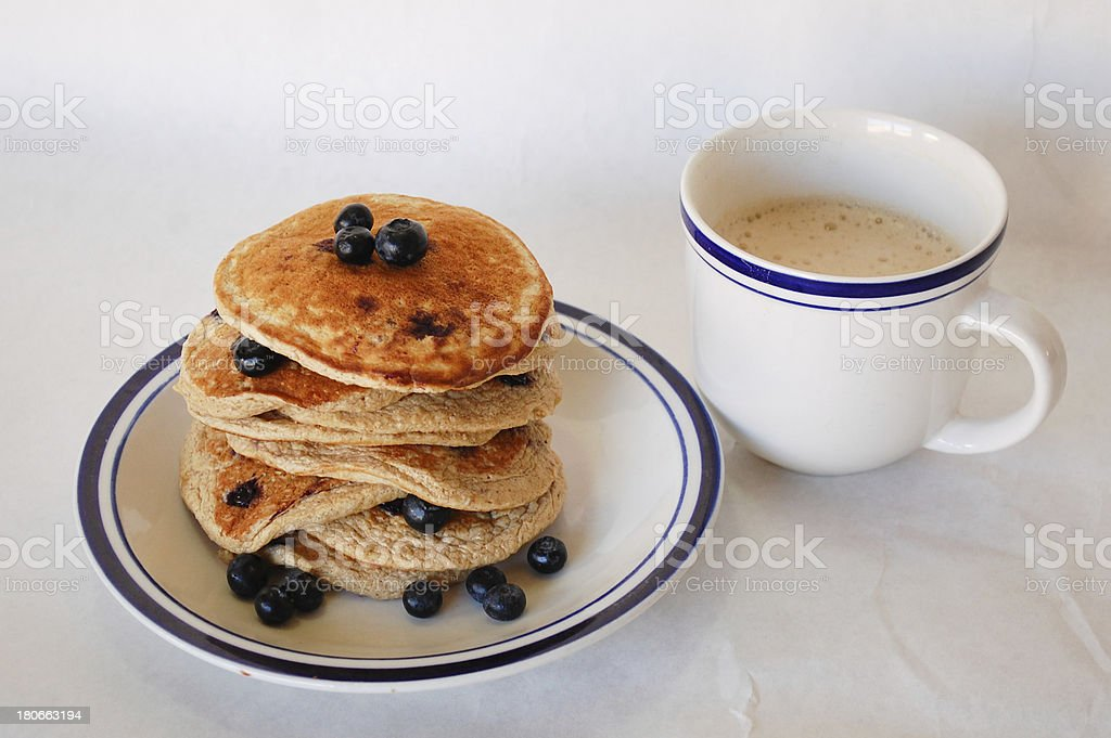 Blueberry Oat Pancakes and Coffee royalty-free stock photo