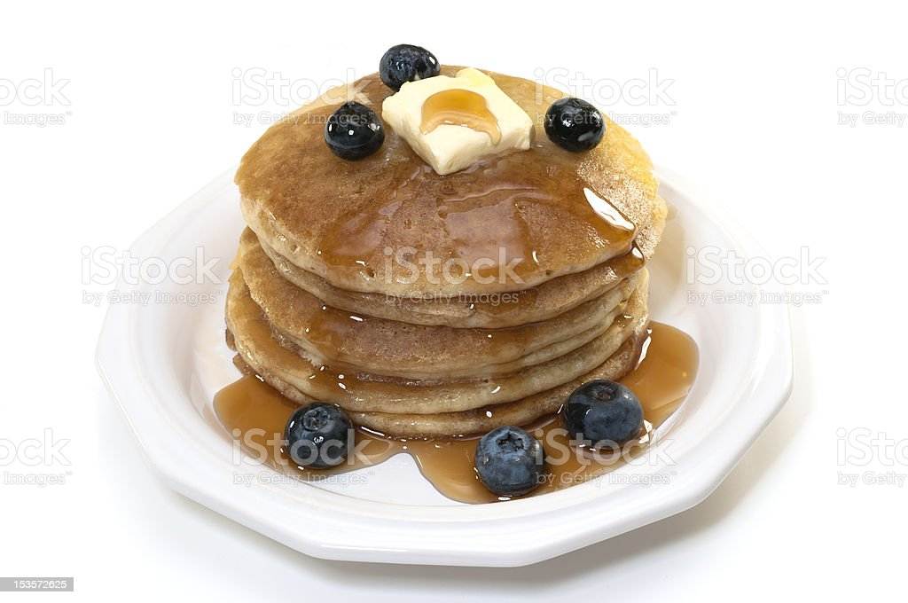 Blueberry Pancakes Isolated stock photo