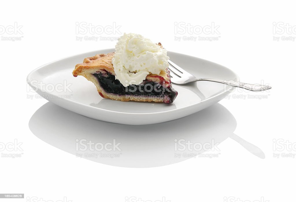 Blueberry pie with whipped cream stock photo