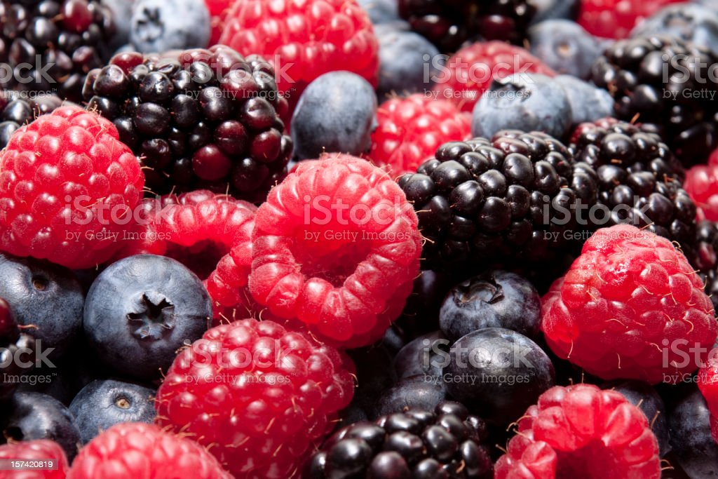 Blueberry, Raspberry and Blackberry Closeup stock photo