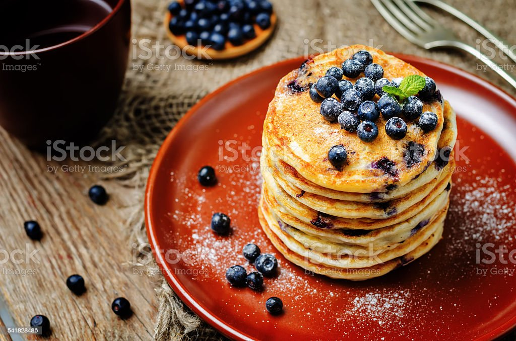 Blueberry Ricotta Pancakes stock photo