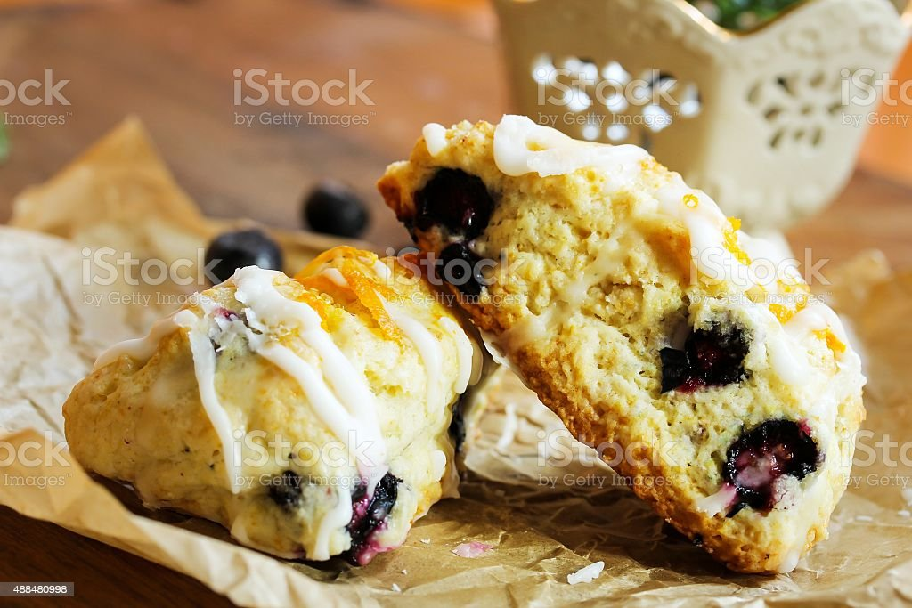 Blueberry scone homemade stock photo