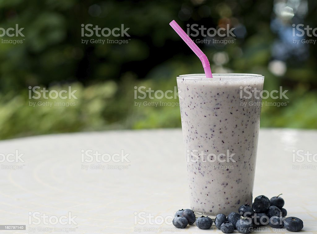 Blueberry Smoothie Outside royalty-free stock photo