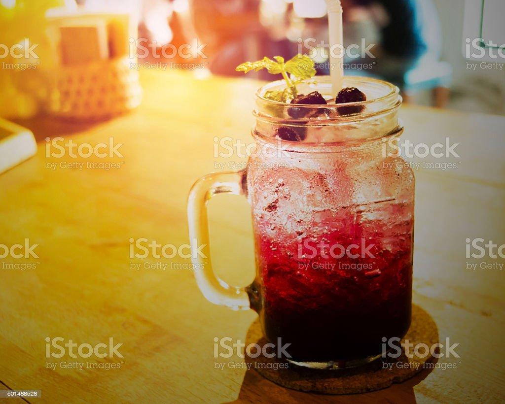 blueberry soda stock photo
