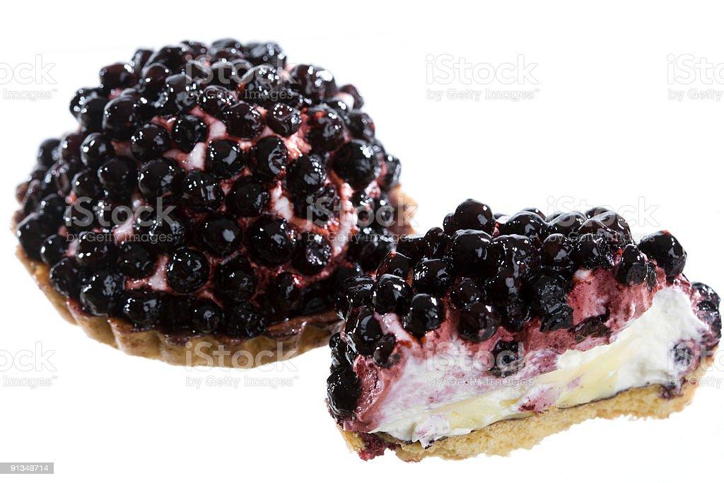 Blueberry tart on white background royalty-free stock photo