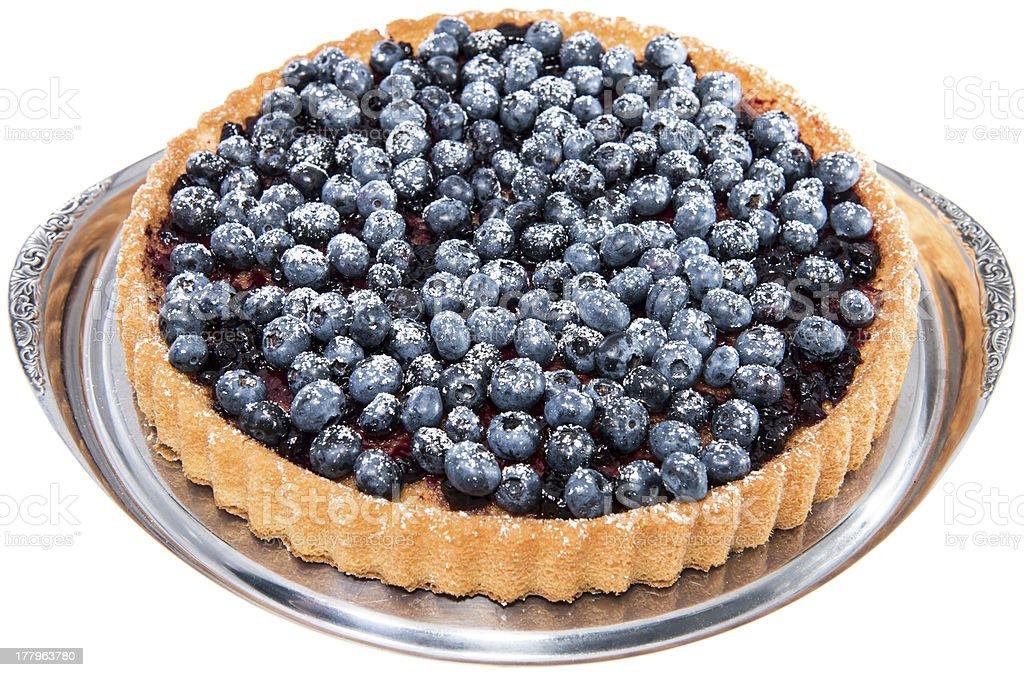Blueberry Tart on white royalty-free stock photo