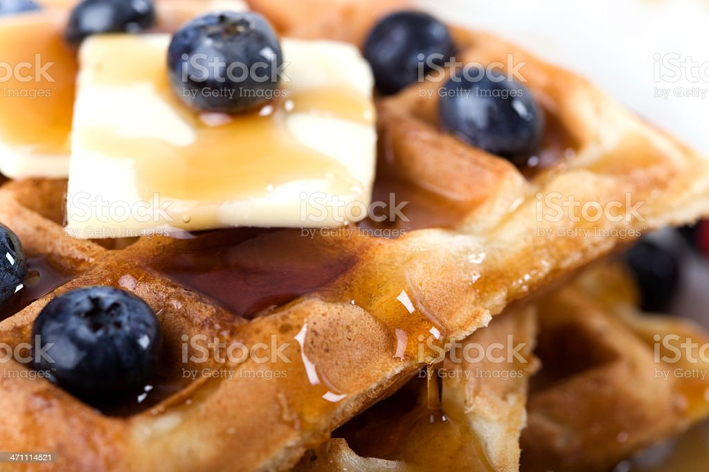 Blueberry Waffles with Maple Syrup stock photo