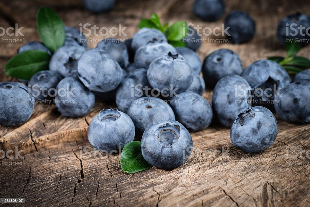 Blueberry with leaves. Organic food. stock photo