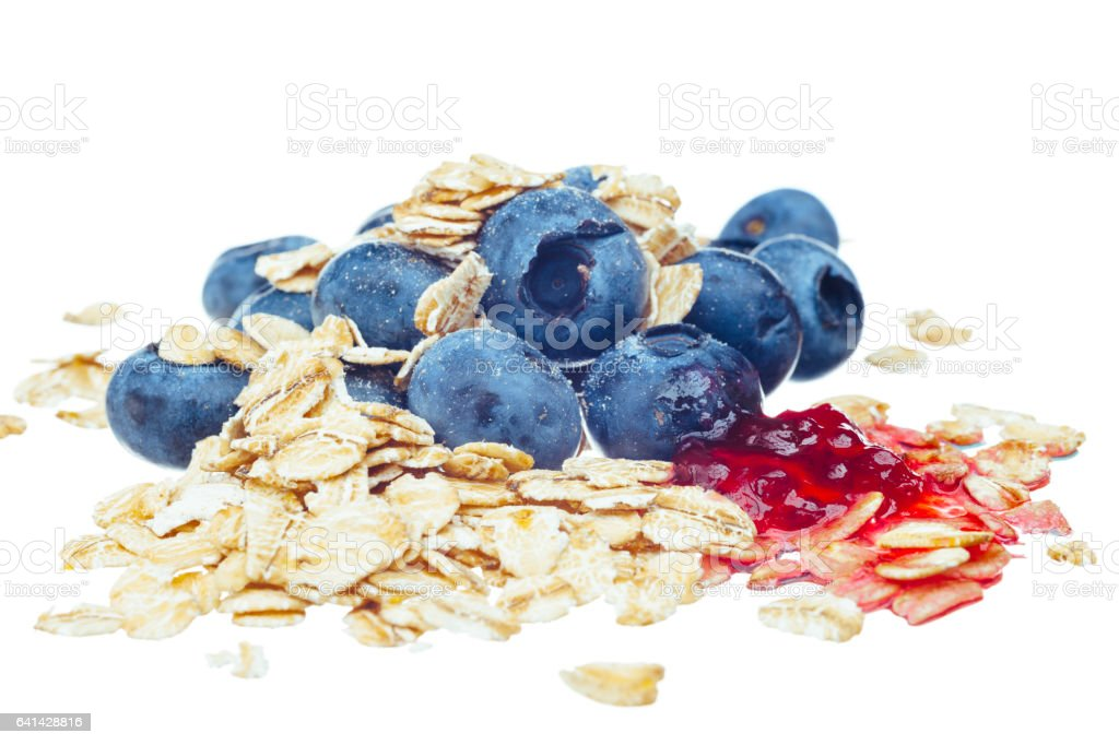 Blueberry with rolled oats and jam, on white stock photo