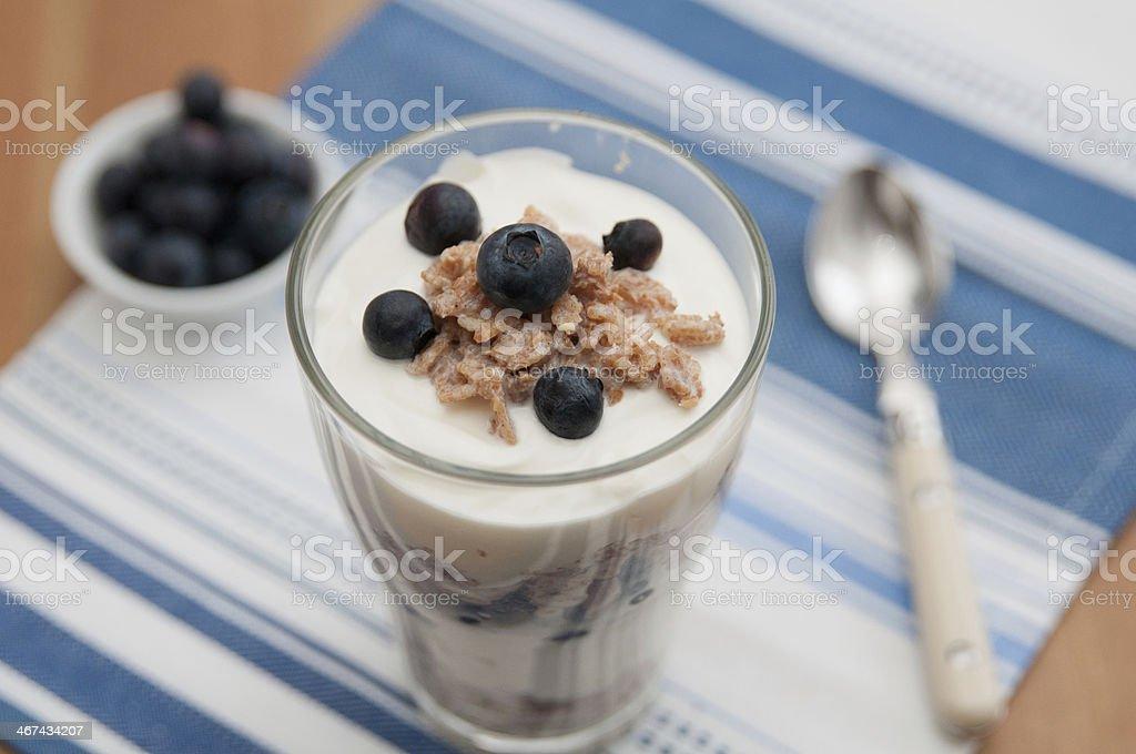 Blueberry Yoghurt Parfait with granola stock photo