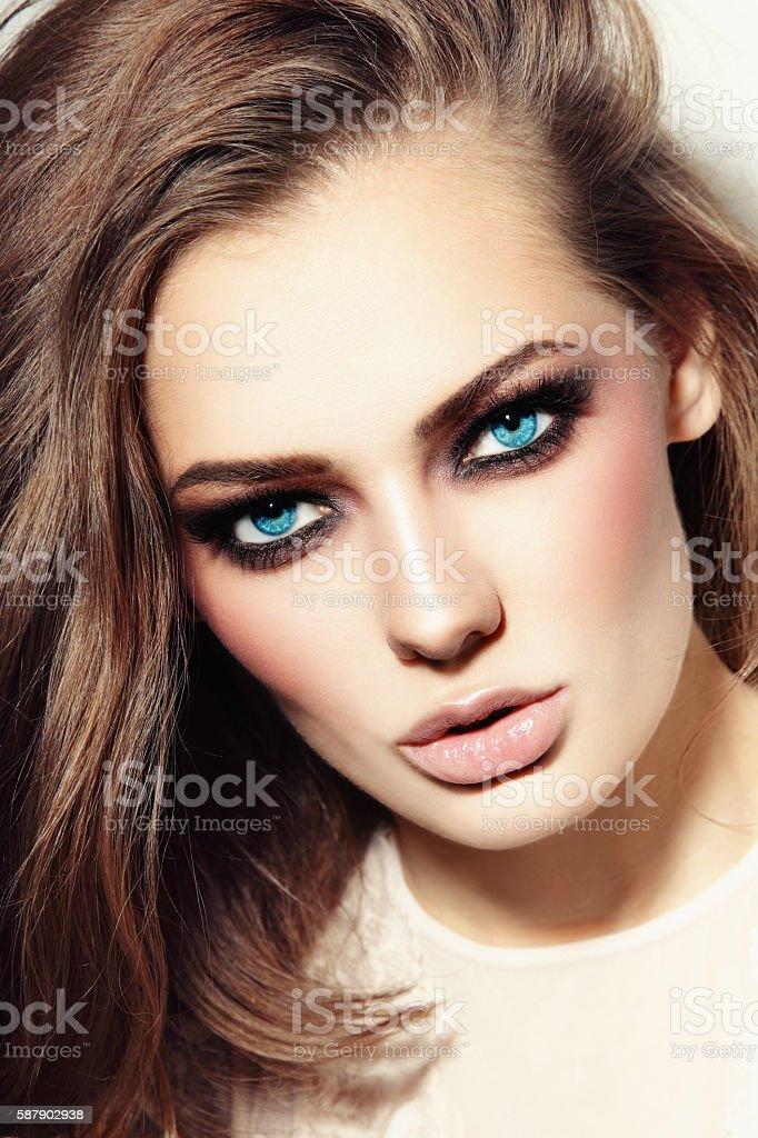 Blue-eyed beauty stock photo