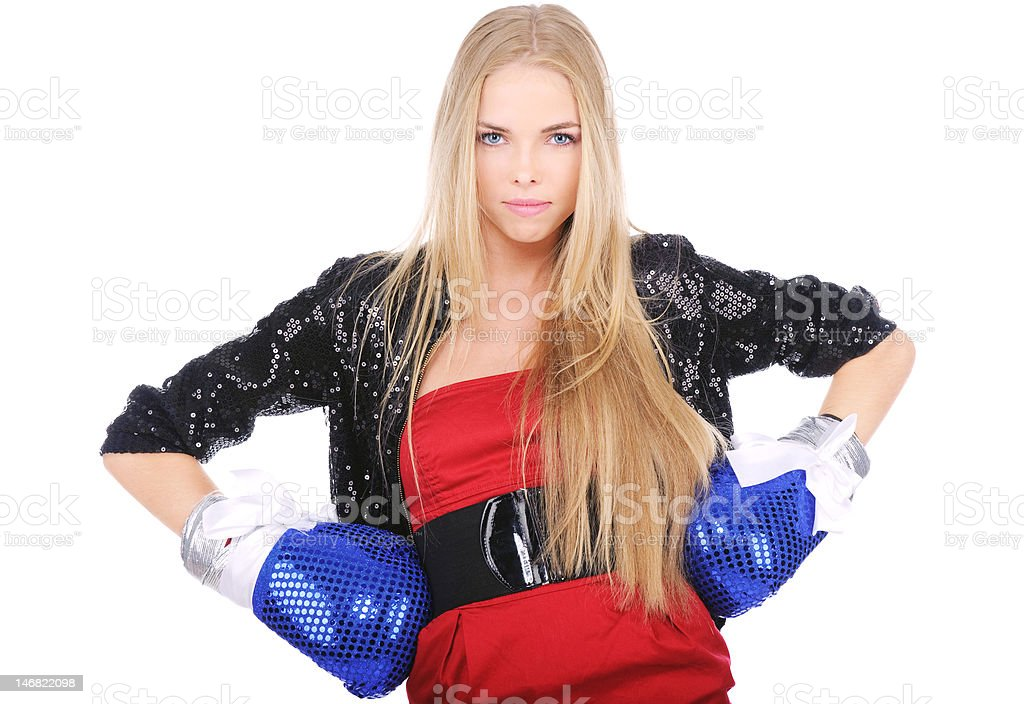 Blue-eyed blonde with boxing gloves on white background royalty-free stock photo