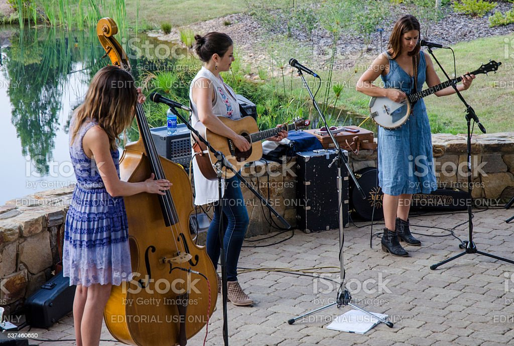 "Bluegrass Concert with ""Underhill Rose"" at Daniel Stowe Botanical Garden stock photo"